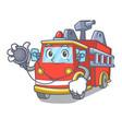 doctor fire truck character cartoon vector image