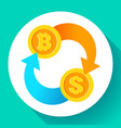 exchange bitcoin to dollar icon usd and btc vector image