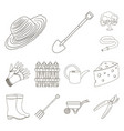 farm and gardening outline icons in set collection vector image