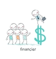 financier is on the dollar sign and talking with vector image vector image