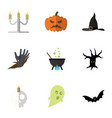 flat icon celebrate set of magic terrible vector image vector image