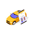 flat taxi car app with mobilephone and map with vector image