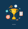flat winners award with icons vector image