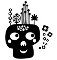 Funny skull with flowers vector image