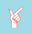 Gesture direction sign stylized hand with index vector image