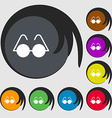 Glasses icon sign Symbols on eight colored buttons vector image