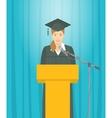 Graduation ceremony speech by Asian girl graduate vector image