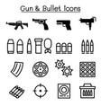 gun bullet icon set in thin line style vector image vector image