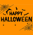happy halloween text banner with spider ghost vector image vector image