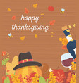 happy thanksgiving poster pumpkin with hat wine vector image vector image