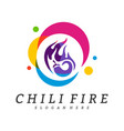 hot chili logo design chili with fire logo vector image vector image