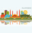 islamabad pakistan city skyline with color vector image vector image