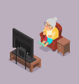 isometric 3d old lady watching tv sit armchair vector image vector image