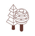 isometric tree icons in line art vector image