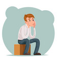 making decision pensive businessman sits on box vector image vector image