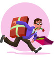 man with gifts vector image vector image