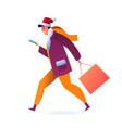 man with smartphone with shopping bag vector image