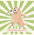 marmot singer with microphone groundhog day vector image vector image
