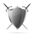 Metallic glittering shield and two swords vector image vector image