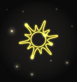neon sun icon in thin line style vector image