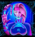 neon zodiac sign scorpio vector image vector image