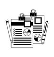 office paper diagram finance pen and pencil vector image