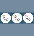 outline retro telephone handset symbol set vector image vector image