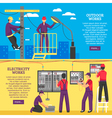 People Doing Electrical Works Horizontal Banners vector image vector image