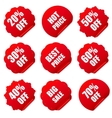 Realistic red discount stickers set vector image