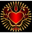 red heart ornament vector image vector image