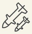rocket launch line icon weapon vector image