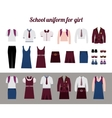 School uniform for girls flat vector image vector image