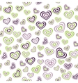 Seamless pattern heart green purple on white vector image vector image