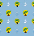 seamless pattern with anchor and coconut palm tree vector image vector image