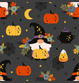 seamless pattern with halloween gnomes and pumpkin vector image