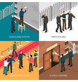 security service 4 isometric icons square vector image vector image