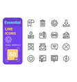set essential line icons vector image