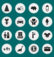 set of 16 editable kin icons includes symbols vector image vector image