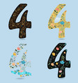 set of numbers four with floral decor vector image