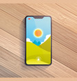 smart phone on wooden table vector image vector image