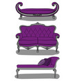 sofas in italian style in purple and gray shades vector image vector image
