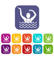 swimmer in a swimming pool icons set vector image vector image