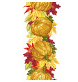 vertical seamless line with autumn leaves and vector image