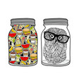 set of jars with food vector image
