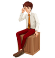 A businessman sitting vector image vector image