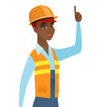 african builder with open mouth pointing finger up vector image vector image