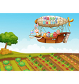 An airship passing over a farm vector image vector image