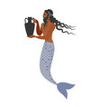 ancient greece man with fish tail carrying an vector image