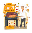 baker baking pizza and bread bakery pastry shop vector image