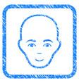 bald head framed stamp vector image vector image